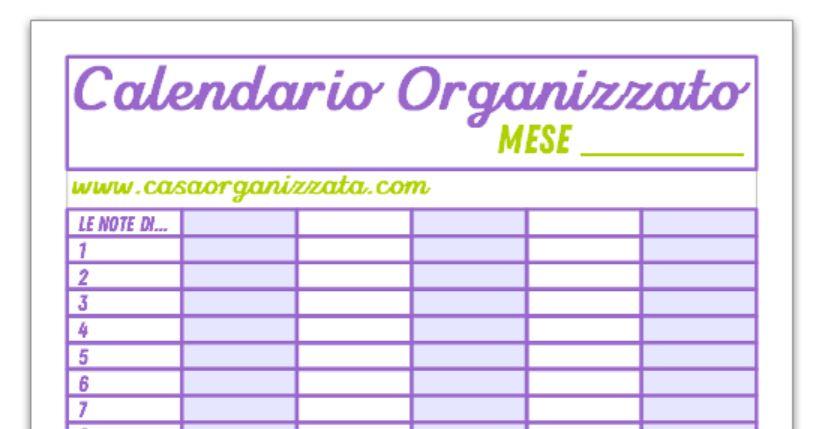 Calendario Da Scaricare.Calendario Organizzato Da Stampare Per La Visione D Insieme