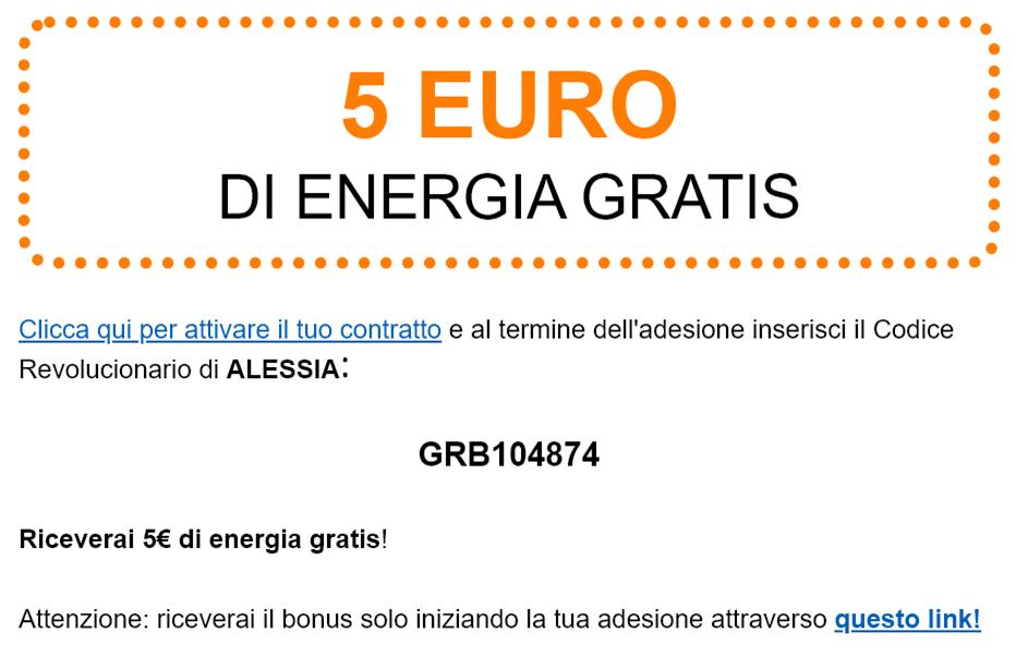 5 euro di energia gratis