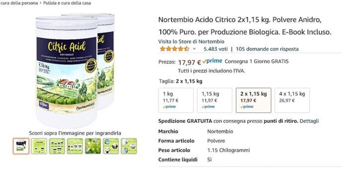 acido citrico su amazon_